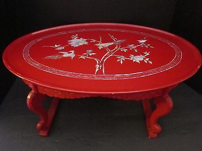 red lacquer tray table w/ inlaid mother of pearl. birds, flowers. vintage asian