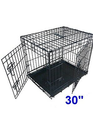 Ellie-Bo Folding 2 Door Puppy Crate Cage Medium 30 Inch Black