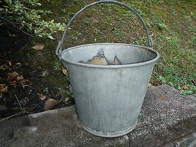 Large Vintage Galvanised Bucket Garden Planter