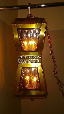 "Entry Foyer Hanging Light Lamp Fixture Ornate Glass Vintage 24"" Clear Glass"