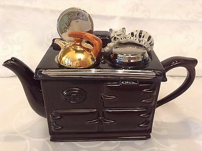Teapottery Novelty Collectable Teapot Large Black Aga Sleepy Cat Lovely Condtion