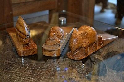 3 Stunning Hand Craft Animal Wooden Door Stops Wedges - Very High Quality