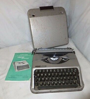 EMPIRE Aristocrat 1950s Vintage TYPEWRITER Cased GREY Instructions PORTABLE