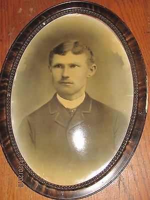 Vintage  Oval Wooden Frame Convex Bubble Glass HAND TINTED Portrait Man