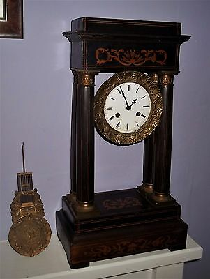 Nice French Inlaid Portico Mantle Clock