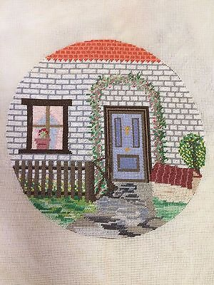 Finished tapestry - cottage door and garden