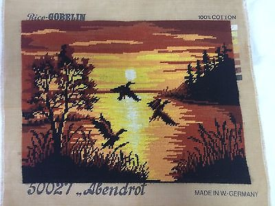 CLEARANCE SALE!! Finished tapestry - flying ducks at sunset - West German design