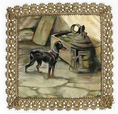 Manchester English Toy Terrier Black & Tan Hand Painted Silk Place Mat Gold Lace