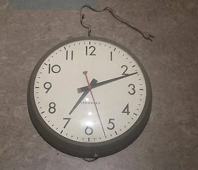 vintage Stromberg classroom wall clock, works, 14 inch
