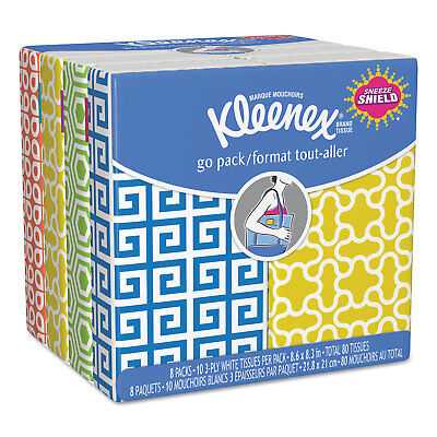 Facial Tissue Pocket Packs, 3-Ply, White, 10/Pouch, 8 Pouches/Pack