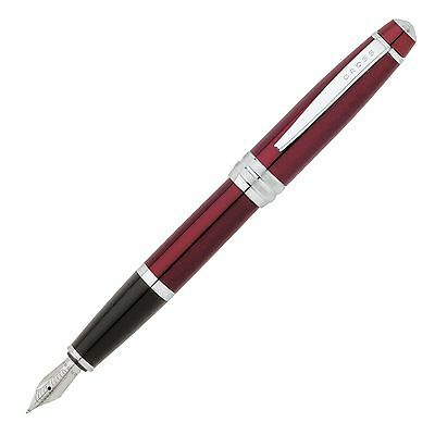 Cross Bailey Red Lacquer Fountain Pen - Medium Nib with Cartridges (AT0456U-8MS