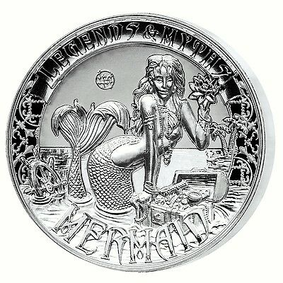 MERMAID -Legends and Myths 2oz Double High Relief Reverse Proof Silver Coin 2016