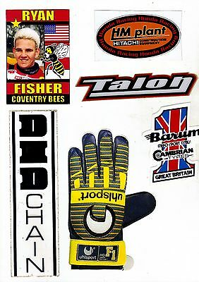 Unused Stickers Fisher Coventry Barum Tyres DID Talon Uhlsport Gloves HM Plant