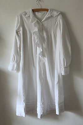 Victorian Antique White Cotton Nightie Pin Pleated Nightgown Lace Embroidered