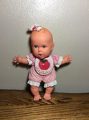 """Vintage Gerber Toy Biz Baby Applesauce Doll 1996 8"""" Doll Red Checkered Outfit"""