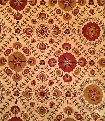 LEE JOFA Ayla Trellis ochre clay India embroidery linen cotton poly new remnant
