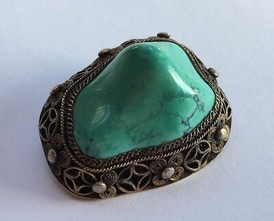 Vintage Old Chinese Silver Gold Gilt Asian Export Blue Turquoise Pin Brooch