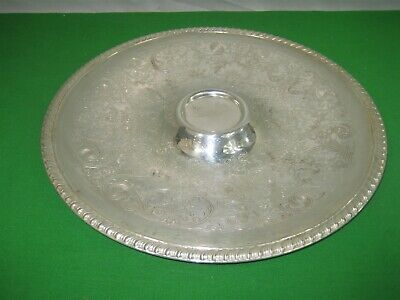 Vintage William Rogers Silver Plated Round Etched Serving Tray Gadrooned Edge