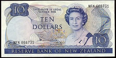 1981-85 Issue New Zealand $10 Banknote Signature: H.R. Hardie - Grade: gF