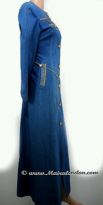 Designer Jeans Abaya jibab Front open Jeans long dress with Gold belt. Size L