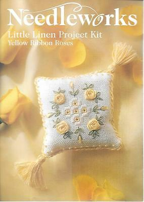 Needleworks little linen project kit pillow yellow ribbon roses embroidery 8x8cm