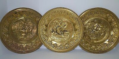 Vintage 1940's Embossed Brass Wall Plate  Set Of 3