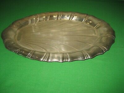 "Vintage Silver Plated NEPTUNE by Rogers16"" Oval Tray Dish Fan Design No 9309"