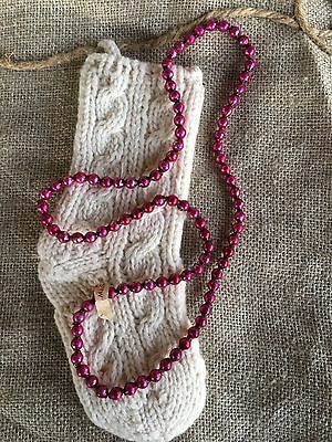 Vintage 1930's Mardi Gras Necklace Pink Mercury Glass Beads,Feather Tree Garland