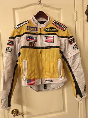 New W Custom Patches Icon Motosports Tarmac Jacket Mens M.yellow/white.must See!