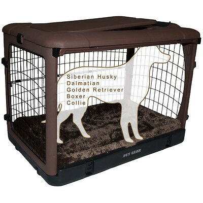"""Pet Gear The Other Door Wheeled Steel Dog Pet Crate w/ Bolster Pad 42"""" Chocolate"""