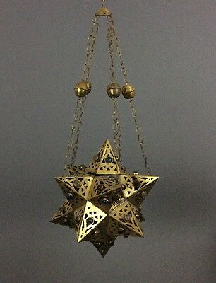 Vintage Moroccan Handcrafted Jeweled Star Pattern Brass Hanging Light Fixture