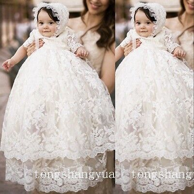 New Baby Baptism Gowns Christening Dresses Lace First Communion Gown With Bonnet
