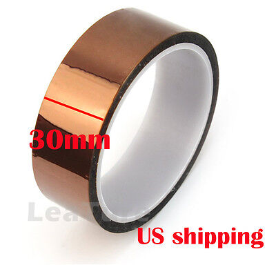 30mm x 100ft High Heat Temperature Resistant Kapton Polyimide GBA Gold Tape US