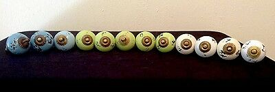 Vintage Ceramic Cabinet Drawer Door Knobs X 12 With Fittings - Bright Colourful