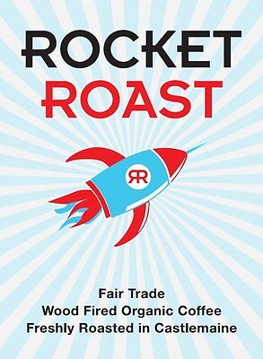 Wood-fired Fairtrade Organic Coffee Ground Rocket Roast 1kg