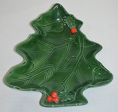 Lefton Green Holly Berry Christmas Tree Candy Nut Dish Vintage