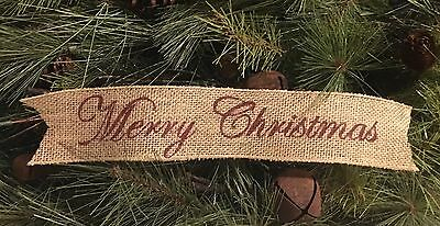 """Primitive Merry Christmas Wired Burlap Ribbon Banner Ornament Garland 2-1/2""""x14"""""""