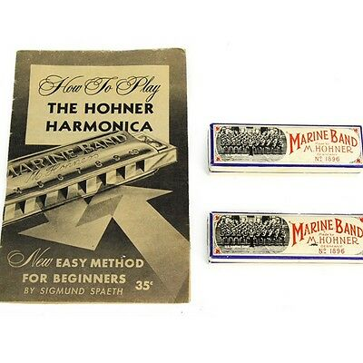 HOHNER MARINE BAND 2 Vintage Harmonicas Key of C & G + Book No. 1896