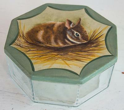 Vintage Glass Covered Dish Wood Top Hand Painted Bunny Rabbit Marked France 024