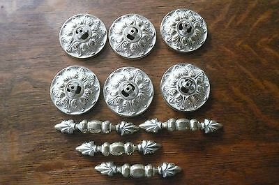 10 Vtg 60's Brass French Provincial Drawer Knobs Handles Medallions Chippy White