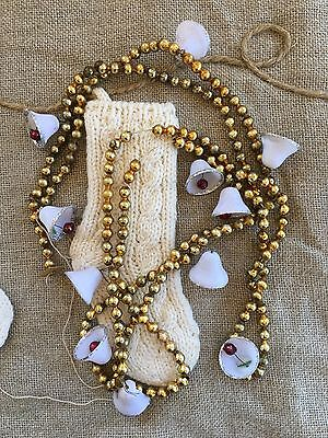 "Vintage Gold 1/4"" Mercury Glass Beads and Glittered Celluloid Sugar Bell Garland"