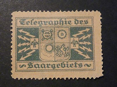 Germany Saarland Telegraph Stamp, dark green, used during French occupation