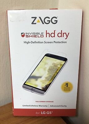 NEW Zagg invisible SHIELD HD Dry Full Screen Protector for LG G5