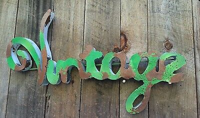 "Metal Sign ""Vintage"" Retro Green & Rusty Patina- Wall Art- Junk Shop"