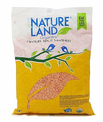 NatureLand Organics Red Split Lentils USDA Certified- Choose Your Weight