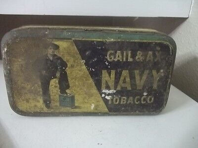 Vintage Antique Advertising Gail And Ax Navy Tobacco Tin Estate Find