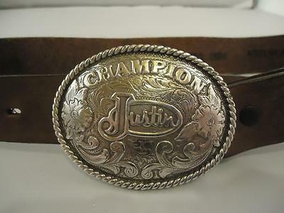 Justin Boys Champion Rodeo Belt Buckle with Brown Leather Tooled Belt 24""
