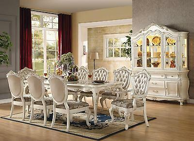 Acme Chantelle 63540-Set Formal Marble Top Pearl White Dining Table Set 5-Pcs