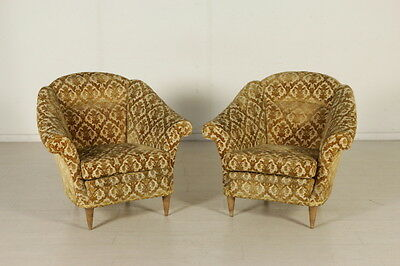 Two Armchairs Springs Padding Velvet Upholstery Vintage Italy 1940s-1950s