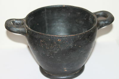 LARGE ANCIENT GREEK POTTERY HELLENISTIC SKYPHOS 4th CENTURY BC  WINE CUP